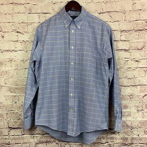 Land's End Blue Check No Iron Long Sleeve Shirt